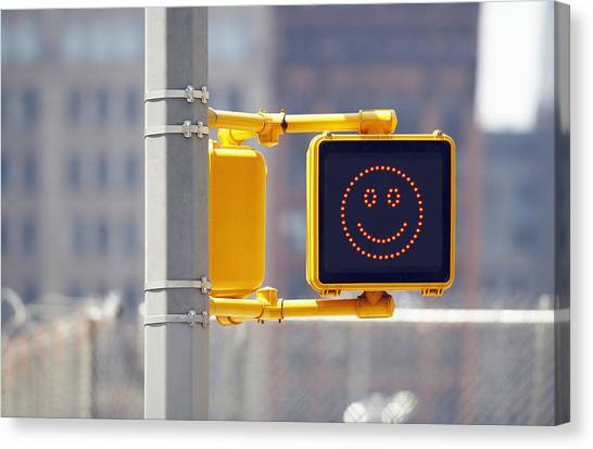 Stoplights Canvas Print - Traffic Sign With Smiley Face by Richard Newstead
