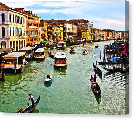Traghetto, Vaporetto, Gondola  Canvas Print