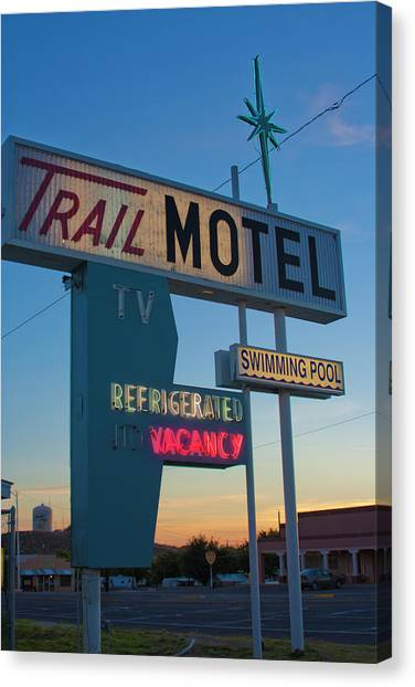 Trail Motel At Sunset Canvas Print
