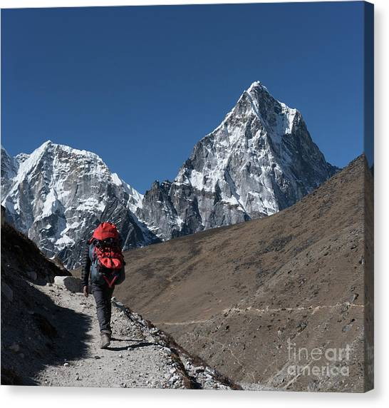K2 Canvas Print - Trail To Tabuche In Nepal by Mike Reid