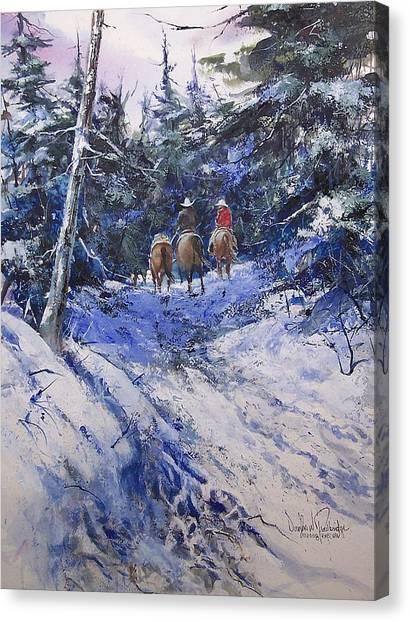 Trail To Winter Camp Canvas Print by Douglas Trowbridge
