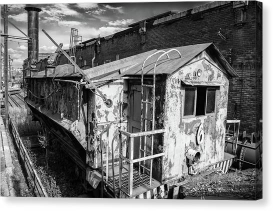Train 6 In Black And White Canvas Print
