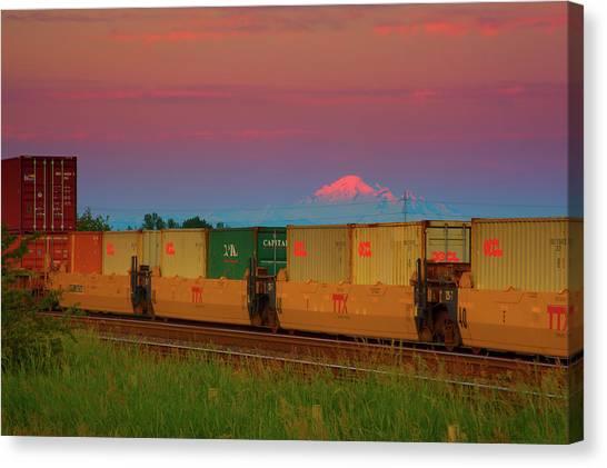 Train And Mount Baker Canvas Print by Paul Kloschinsky