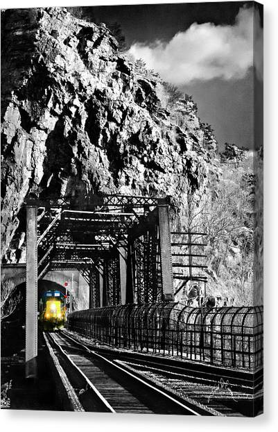 Canvas Print featuring the photograph Train At Harpers Ferry by Williams-Cairns Photography LLC