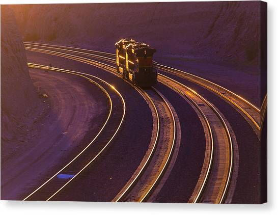 Trains Canvas Print - Train At Sunset by Garry Gay