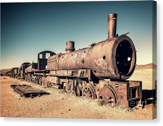 Andes Mountains Canvas Print - Train Cemetery In Uyuni, Bolivia by Delphimages Photo Creations