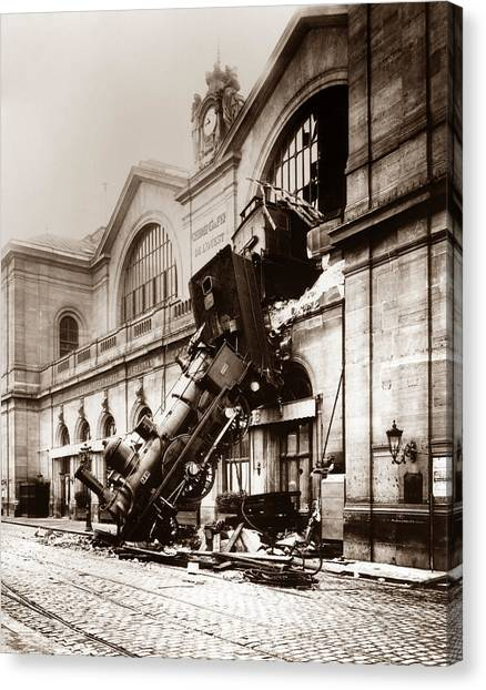 Vintage Railroad Canvas Print - Train Derailment At Montparnasse Station - 1895 by War Is Hell Store