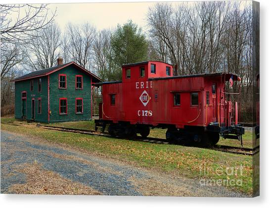 Train Conductor Canvas Print - Train - Erie Rr Line Caboose by Paul Ward
