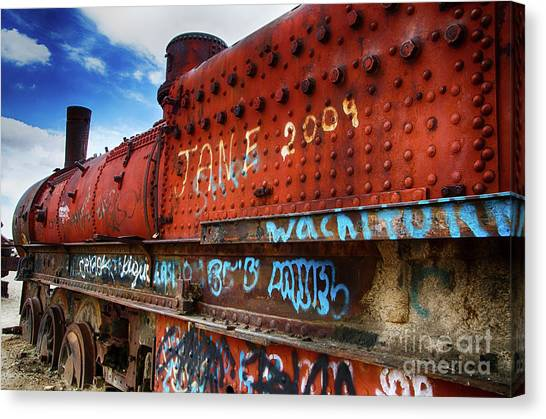 Train Graveyard Uyuni Bolivia 17 Canvas Print