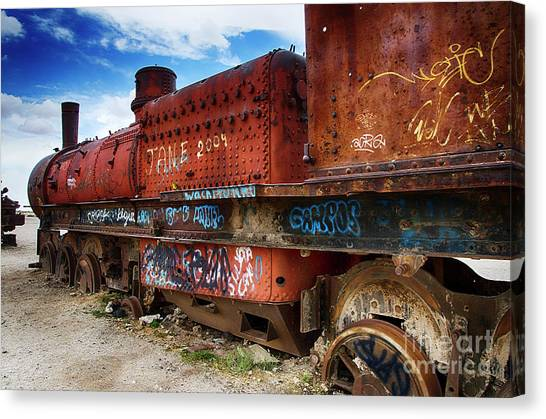 Train Graveyard Uyuni Bolivia 18 Canvas Print