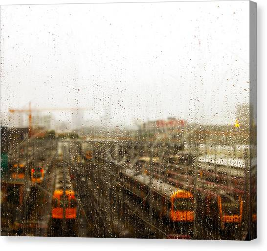 Train In The Rain Canvas Print