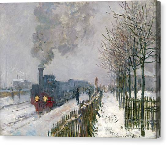 Trees In Snow Canvas Print - Train In The Snow Or The Locomotive by Claude Monet