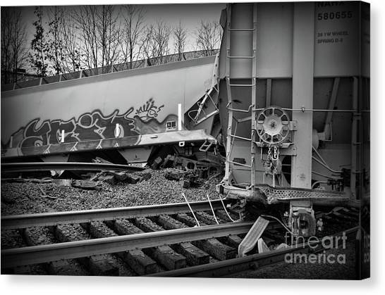 Industrial accidents canvas print train off the rails in black and white by paul ward