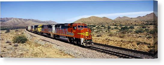 Freight Trains Canvas Print - Train On A Railroad Track, Santa Fe by Panoramic Images