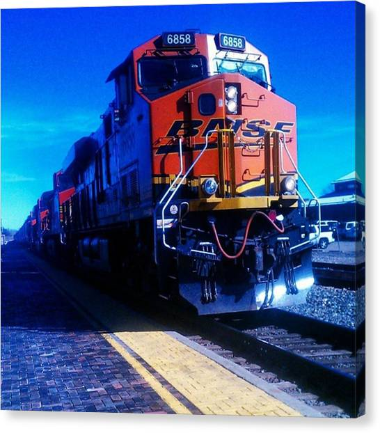 Freight Trains Canvas Print - #train #rails. #railroad #railway by Tammy Winand