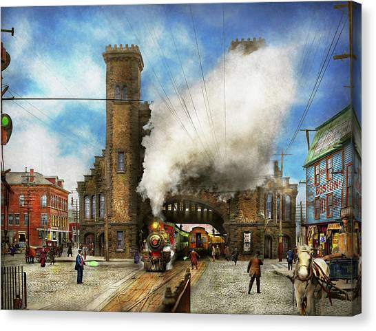 Train Conductor Canvas Print - Train Station - Boston And Maine Railroad Depot 1910 by Mike Savad