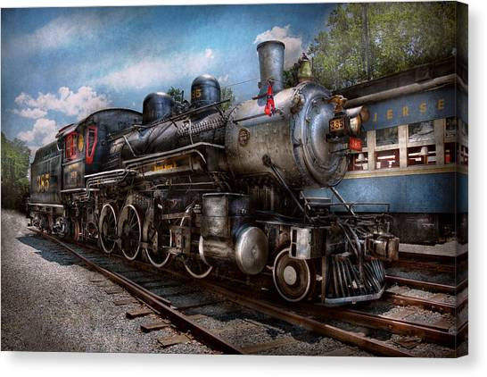 Train Conductor Canvas Print - Train - Steam - 385 Fully Restored  by Mike Savad