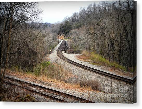 Train Tracks Across The New River - Radford Virginia Canvas Print