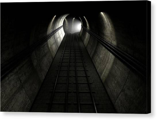 Train Tracks And Approaching Train Canvas Print by Allan Swart