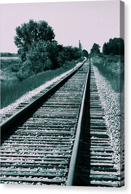 Train Conductor Canvas Print - Train Tracks Cross Process by Dan Sproul