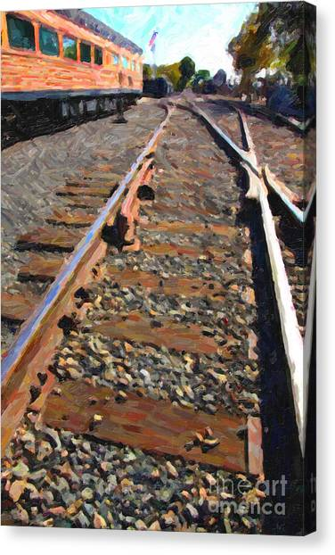 Bullet Trains Canvas Print - Train Tracks by Wingsdomain Art and Photography