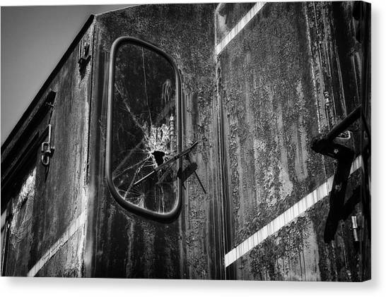 Thomas The Train Canvas Print - Train Vandalized Black And White by Thomas Woolworth