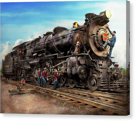 Train Conductor Canvas Print - Train - Working On The Railroad 1930 by Mike Savad