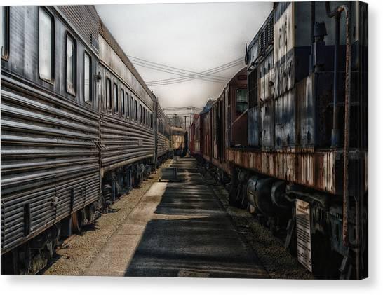Thomas The Train Canvas Print - Train Yards At Sunrise Sc by Thomas Woolworth