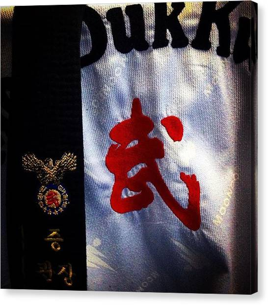 Taekwondo Canvas Print - #training #blackbelt #poomsae #sipjin by Abraham Sorkin