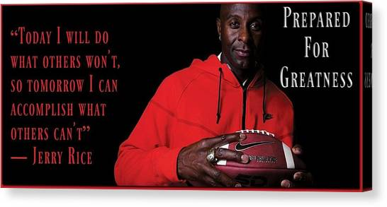 Jerry Rice Canvas Print - Training Excellence by David Norman