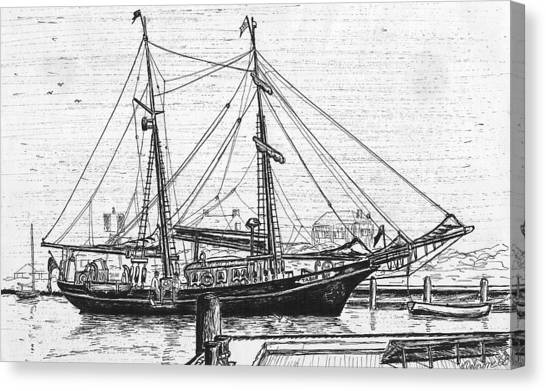 Training Ship Tabor Boy At Woods Hole Town Dock Canvas Print