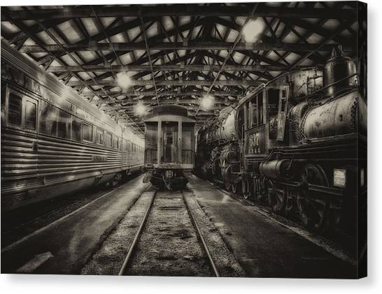Thomas The Train Canvas Print - Trains 3 Foregone Work Horses Sepia by Thomas Woolworth