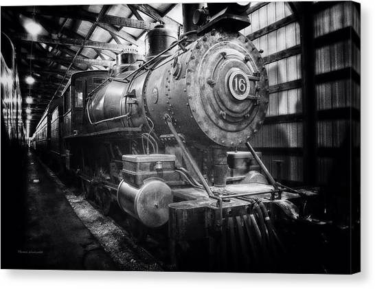 Thomas The Train Canvas Print - Trains Ancient Iron Engine 16 Bw by Thomas Woolworth