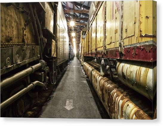 Thomas The Train Canvas Print - Trains Ancient Iron In The Barn by Thomas Woolworth