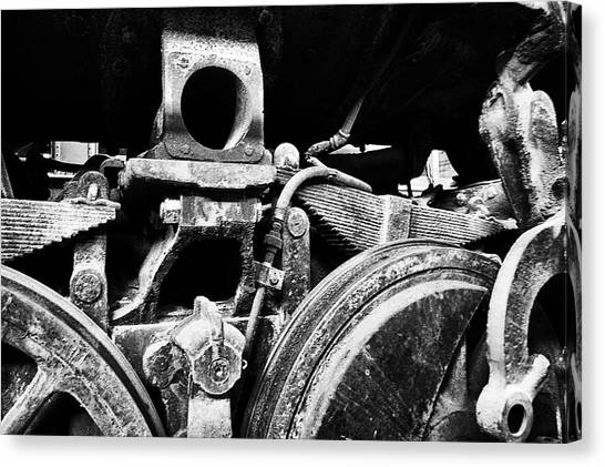 Thomas The Train Canvas Print - Trains Ancient Iron Parts Bw by Thomas Woolworth