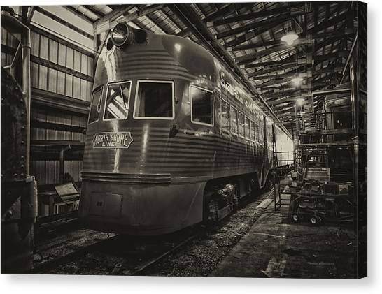 Thomas The Train Canvas Print - Trains North Shore Line Electroliner Sepia by Thomas Woolworth