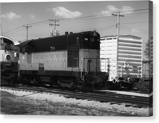 Thomas The Train Canvas Print - Trains The Milwaukee Road 760 Diesel Locomotive Bw by Thomas Woolworth