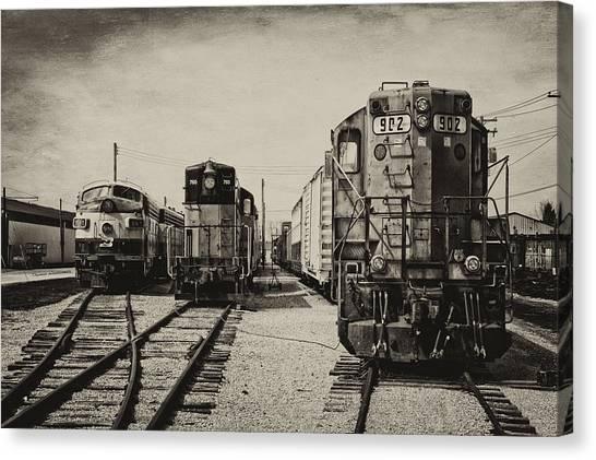 Thomas The Train Canvas Print - Trains Triple Engine Power Sepia by Thomas Woolworth