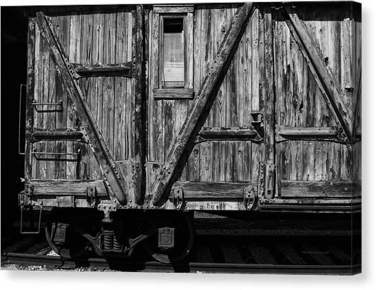 Thomas The Train Canvas Print - Trains Wooden Box Car Black And White by Thomas Woolworth