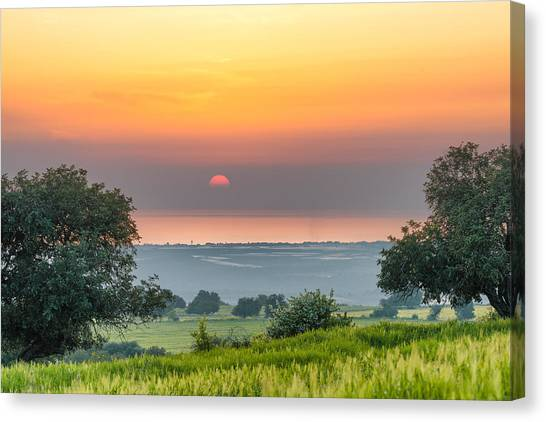 Canvas Print featuring the photograph Sicilian Countryside At Sunset by Mirko Chessari