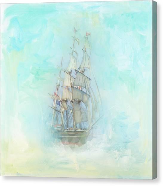 Canvas Print - Tranquil Shores - Clipper Ship by Amanda Lakey