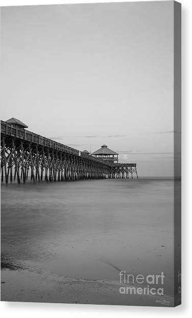 Tranquility At Folly Grayscale Canvas Print