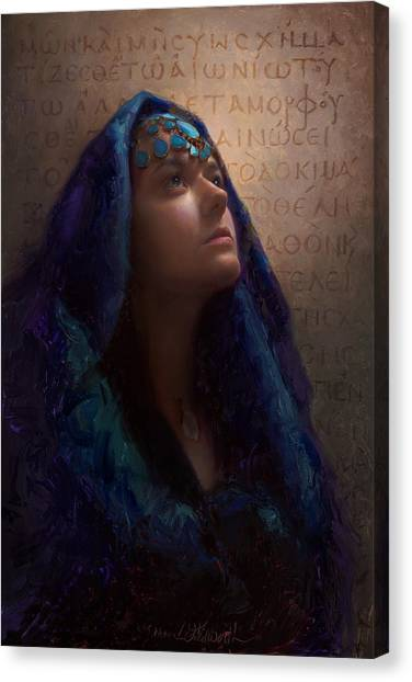Transformation - Woman With Romans 12 2 Written In Original Greek  Canvas Print