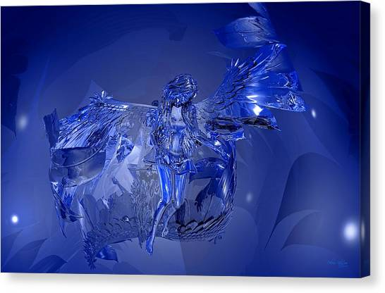 Canvas Print featuring the digital art Transparent Blue Angel by Deleas Kilgore
