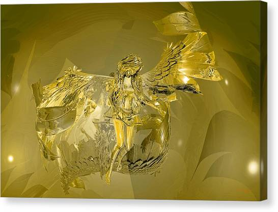 Canvas Print featuring the digital art Transparent Gold Angel by Deleas Kilgore