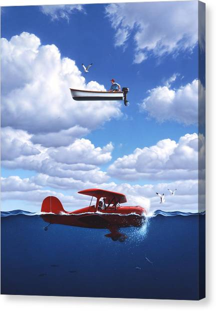 Seagulls Canvas Print - Transportation by Jerry LoFaro