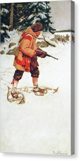 Trapper With Wolves Canvas Print