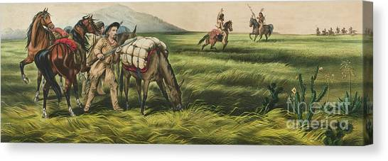 Currier And Ives Canvas Print - Trappers On The Prairie  Peace Or War by Currier and Ives