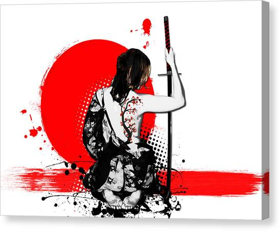 Tattoo Canvas Print - Trash Polka - Female Samurai by Nicklas Gustafsson