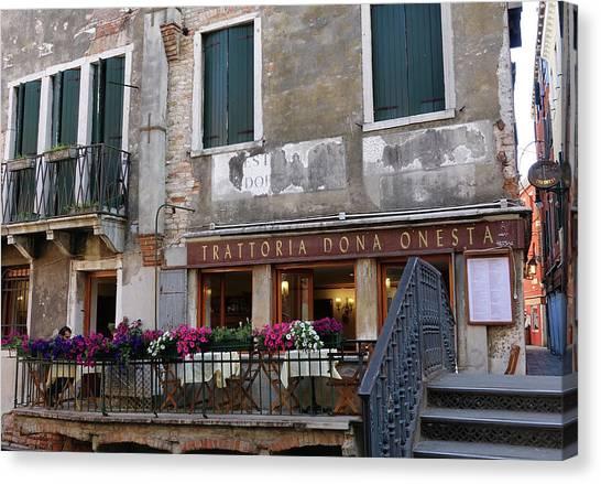 Trattoria Dona Onesta In Venice, Italy Canvas Print